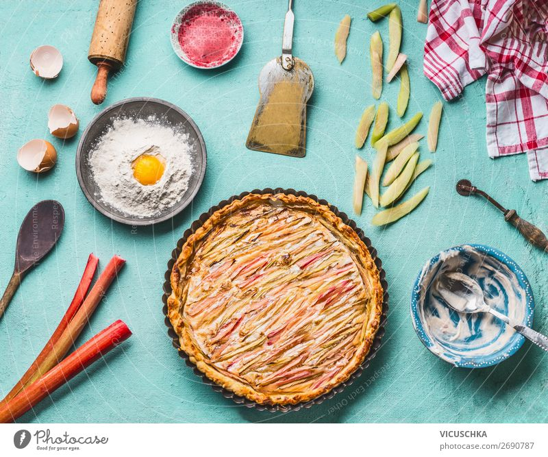 Homemade rhubarb cake with ingredients Food Fruit Cake Dessert Nutrition Organic produce Crockery Style Design Healthy Eating Summer Living or residing Table