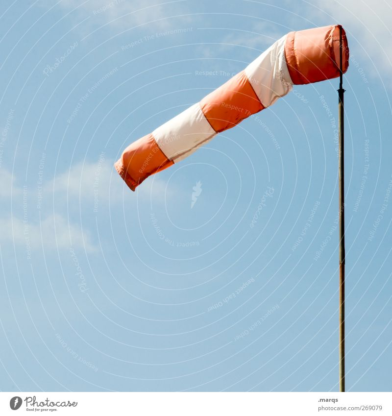 breeze Nature Sky Clouds Climate Climate change Weather Windsock Signage Warning sign Fresh Red White Wind direction Direction Airy Aviation Colour photo