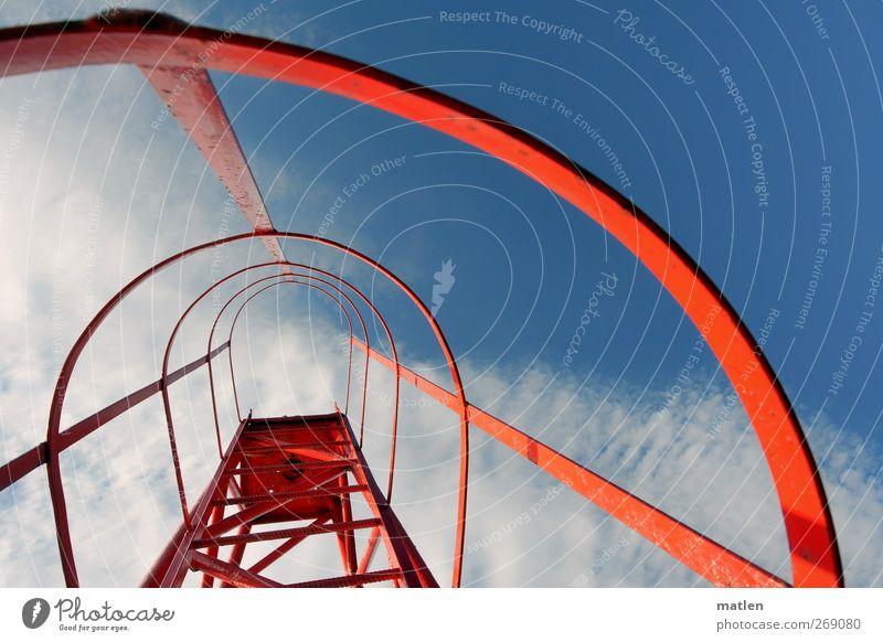 ladder to heaven Measuring instrument Beautiful weather Navigation Harbour Blue Red White Navigation mark Cloud field Go up Upward Multicoloured Exterior shot
