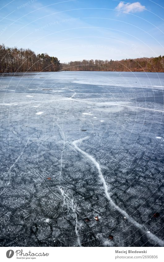 Winter landscape with a frozen lake. Trip Adventure Winter vacation Nature Landscape Horizon Climate Weather Ice Frost Lake River Frozen Crack & Rip & Tear