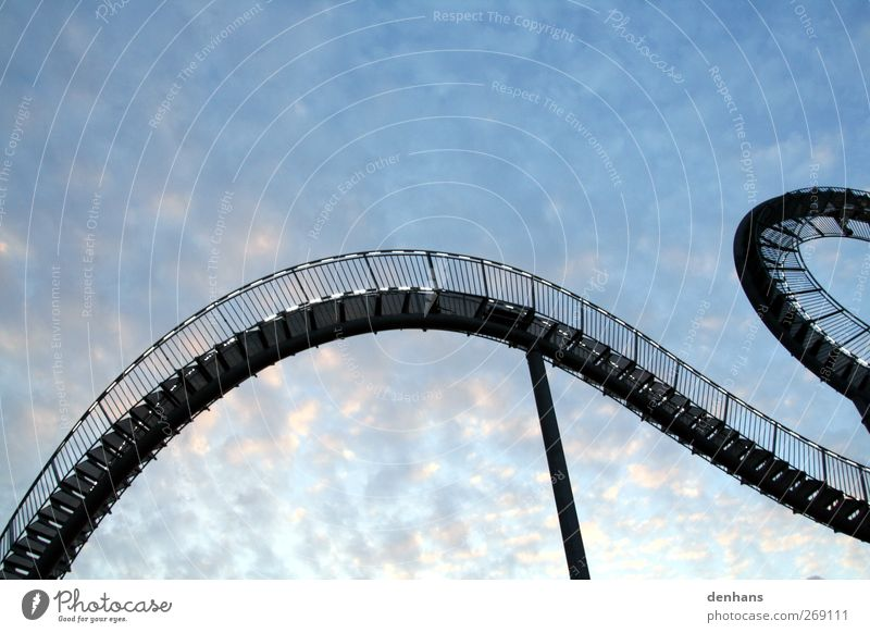 stair dragon Roller coaster Work of art Architecture Sky Clouds Bridge Stairs Tourist Attraction Dragon Steel Hang Esthetic Exceptional Long Blue Flexible