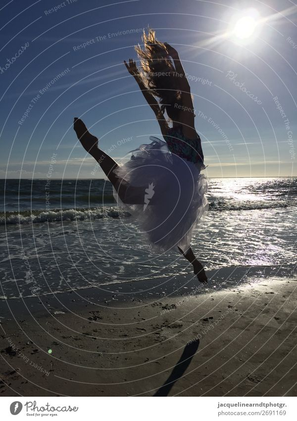 Sunset Dancer Happy Athletic Beach Ocean Sports Human being Feminine Youth (Young adults) Body Head Hair and hairstyles Back Arm Hand Fingers Stomach Bottom