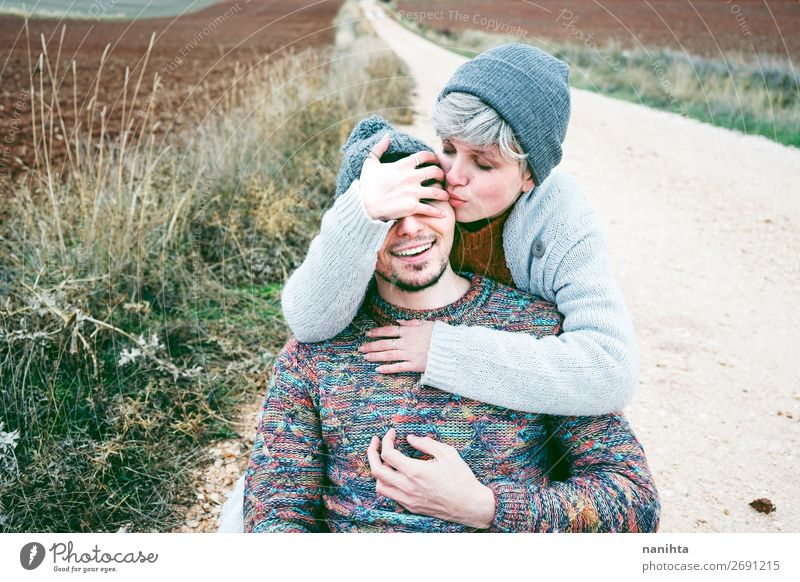 Couple of young people hugging and smiling Woman Human being Vacation & Travel Nature Man Beautiful Joy Winter Lifestyle Adults Autumn Love Funny Lanes & trails
