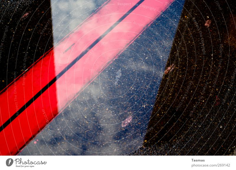 The Red Stripes Water Industrial plant Building Apocalyptic sentiment Asphalt Colour photo Exterior shot Detail Abstract Pattern Structures and shapes Deserted
