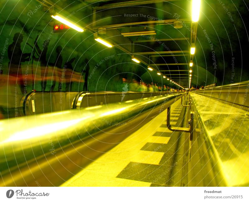 Stockholm - below London Underground Tunnel vision Blur Deep Escalator Green Yellow Painting and drawing (object) Vanishing point Futurism Europe Surrealism