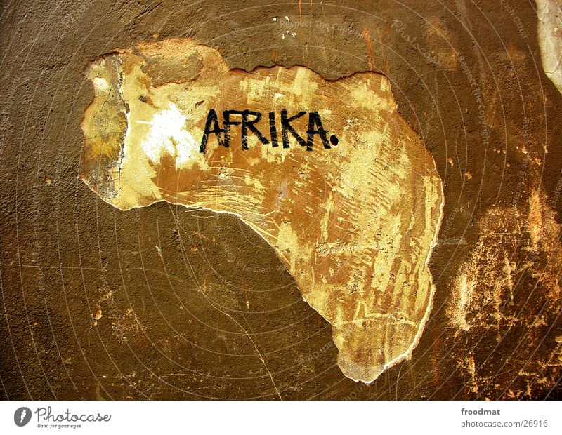 Africa Plaster Silhouette Map Continents Associative Wall (building) Stockholm Decline Brown Street art Art Mortar Scratch mark Tourism Watchfulness Funny Aha