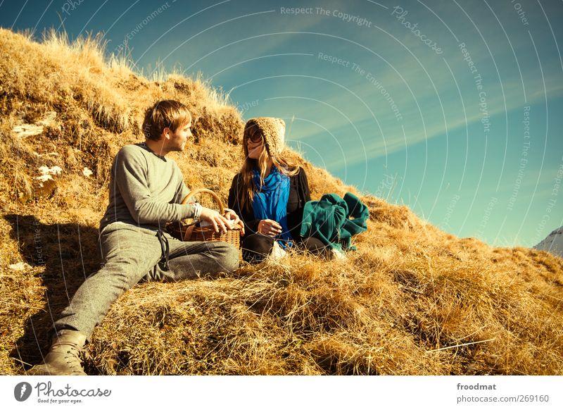 golden romance Joy Happy Human being Masculine Feminine Woman Adults Man Couple Partner 2 Nature Sun Beautiful weather Alps Kitsch Emotions Friendship Love