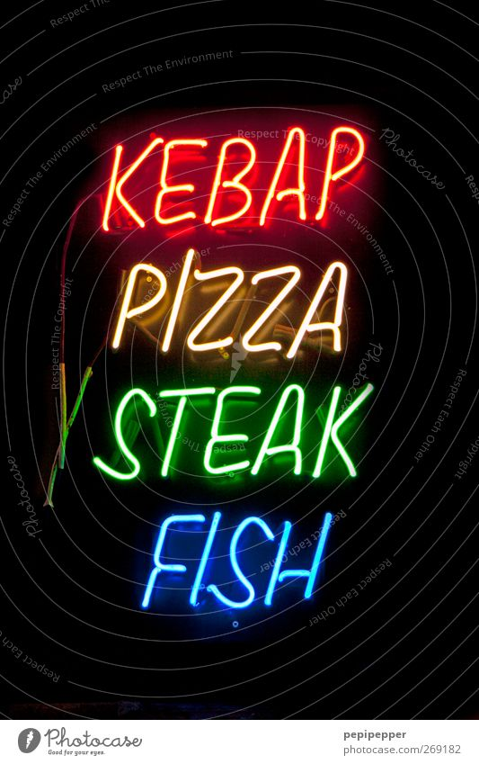 Keyword Food Signs and labeling Nutrition Illuminate Characters Fish Gastronomy Typography Meat Neon light Pizza Fast food International Neon sign Snack bar