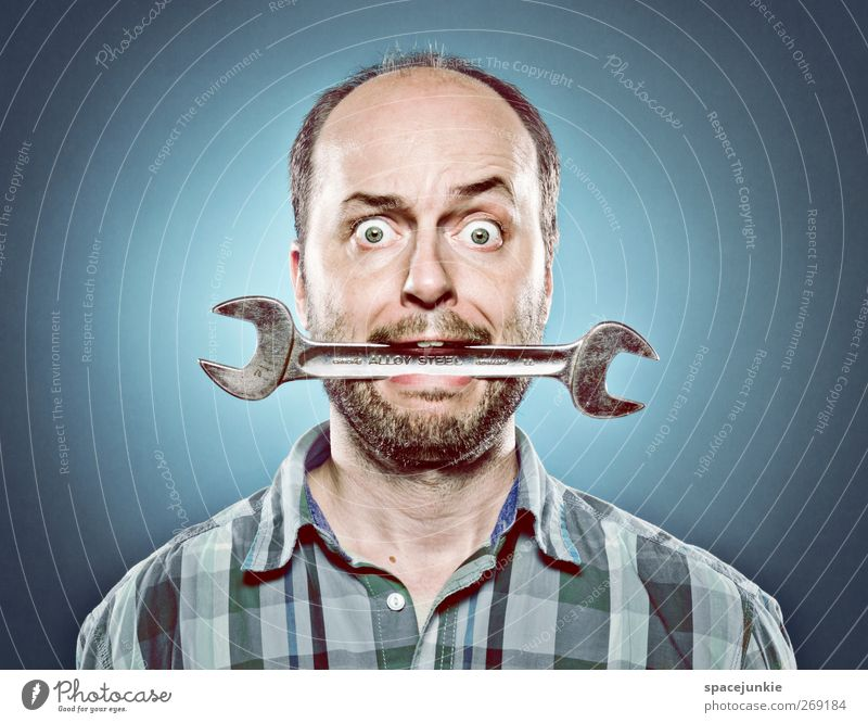 Human being Man Youth (Young adults) Blue Adults Masculine Crazy Young man Whimsical Tool Carrying Humor Bite Skeleton 30 - 45 years Mechanic