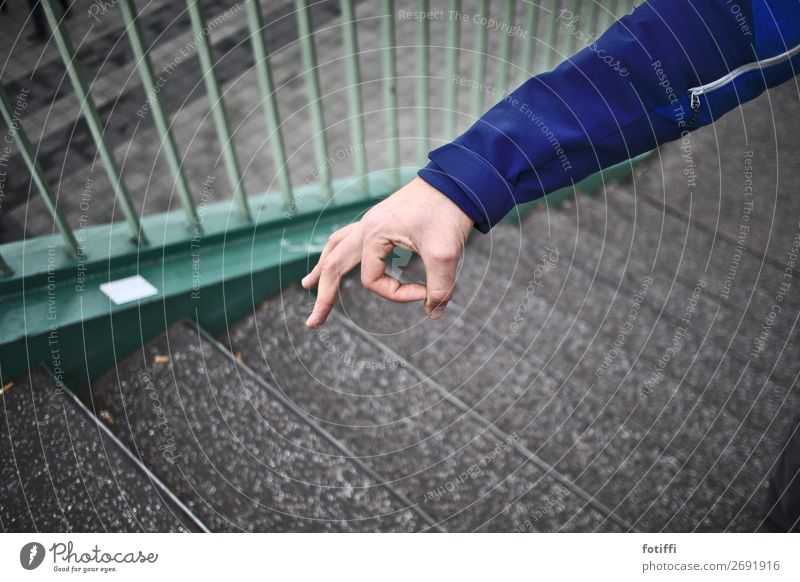 Blue Hand Joy Playing Stairs Arm Round Handrail Banister Jacket Brash Impish