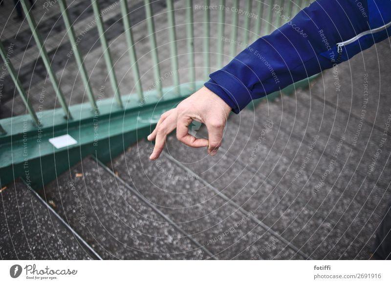 Ha, ha, ha! Looked in! Jacket Brash Playing Blue Arm Looking Joy Round Handrail Banister Stairs Impish Exterior shot