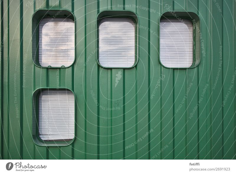 greenbox Port City Deserted Facade Window Metal Stripe Sharp-edged Good Positive Round Green Power Elegant Venetian blinds Roller blind overcast Container