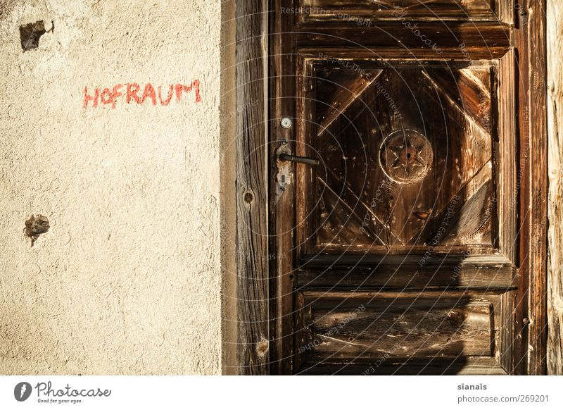 courtyard Hut Wall (barrier) Wall (building) Facade Door Graffiti Old Closed Furka Pass Switzerland Wood Ancient Typography Section of image Lettering Dark