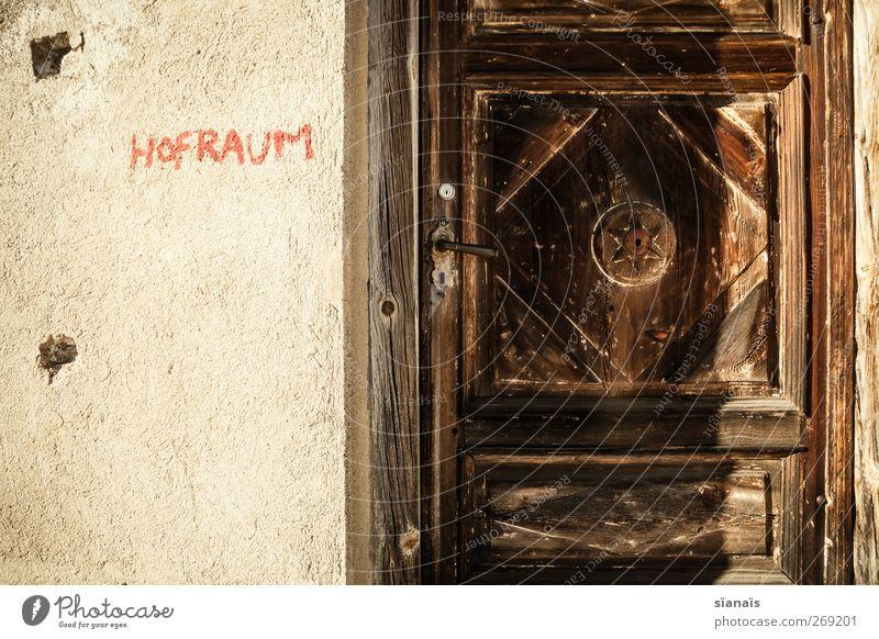 Old Dark Graffiti Wall (building) Wood Wall (barrier) Door Facade Closed Star (Symbol) Mysterious Switzerland Hut Typography Entrance Door handle