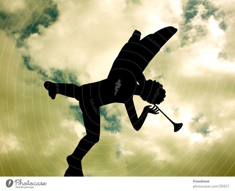 Millesgården #1 Trumpet Flute Clouds Back-light Sculpture Art Things millesgarden Carl Milles Angel Shadow Silhouette Sky Stockolm Sweden One-legged Wing