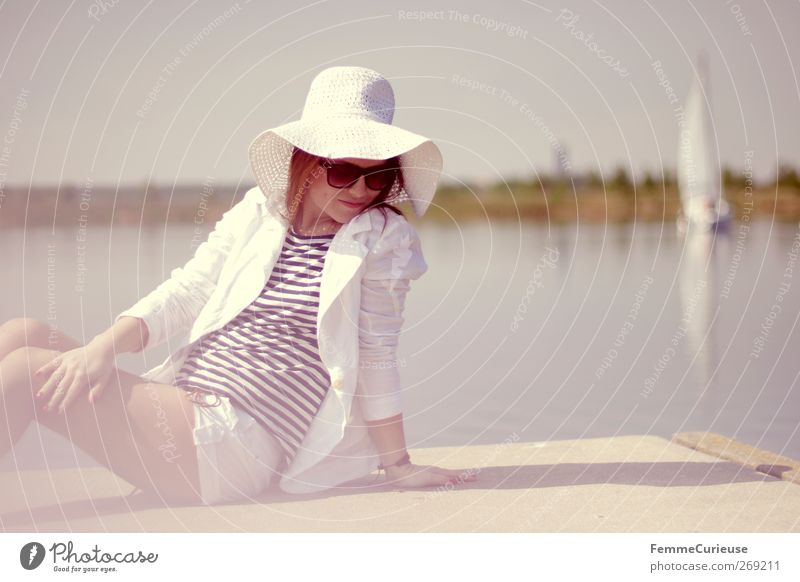 Lunch break at the lake. Lifestyle Luxury Elegant Style Beautiful Summer Summer vacation Sun Sunbathing Island Feminine Young woman Youth (Young adults) Woman