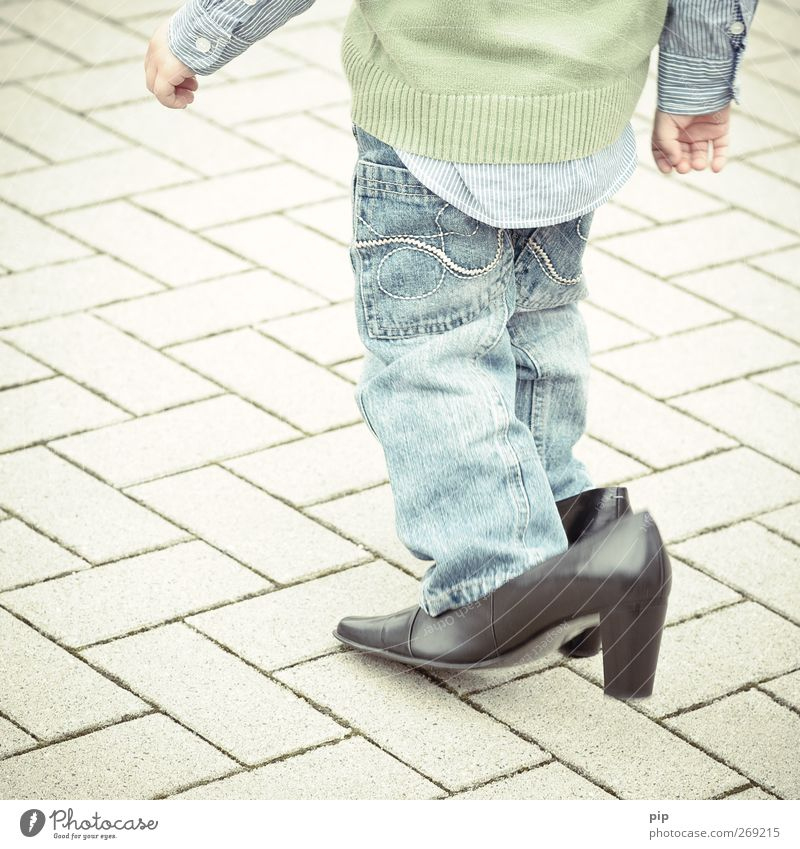 cobbler boy 1 Human being Child Boy (child) Legs 1 - 3 years Toddler Shirt Pants Sweater Leather Footwear High heels Heel of a ladies' shoe Going Large Funny
