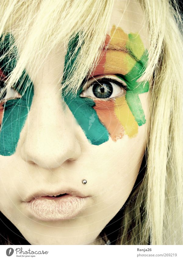 Behold the world with all its colours Joy Face Feminine Young woman Youth (Young adults) Head Eyes 1 Human being Piercing Blonde Long-haired Bangs Looking Dream