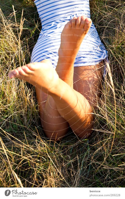 Human being Woman Nature Vacation & Travel Summer Sun Relaxation Eroticism Travel photography Spring Meadow Grass Legs Freedom Feet Lie