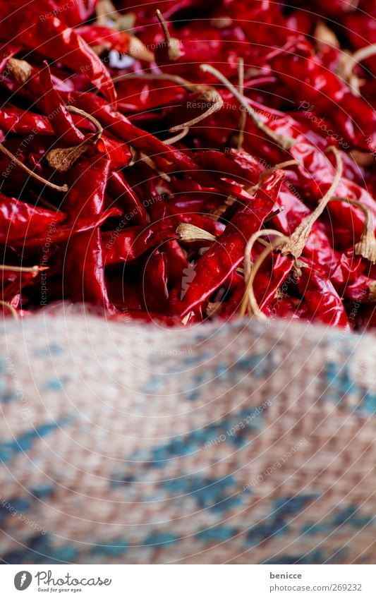 Red Hot Chilli Peppers Chili Husk Sack Markets Dried Many Close-up Deserted Herbs and spices Tangy hot India