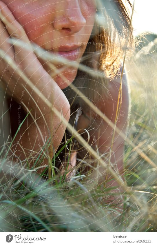 meadow Woman Human being Nose Mouth Lie Meadow Relaxation Summer Spring Dress Grass Loneliness Close-up Sun Sunbeam Day daylight Sunlight European Reading