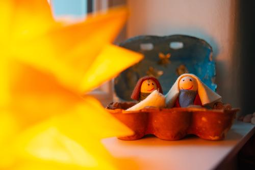 Christmas crib Happy Christmas & Advent Family & Relations Couple Partner Infancy Sit Friendliness Happiness Together Manger Birth Jesus Christ Christianity