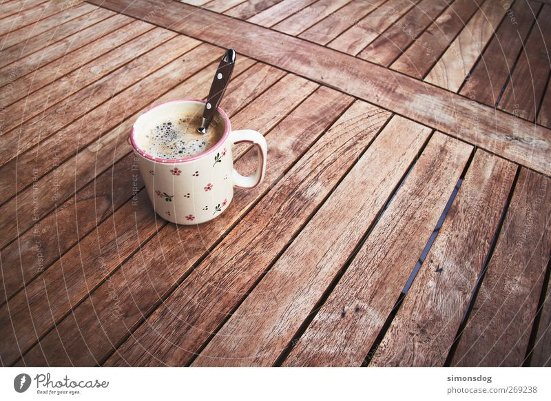 good coffee Breakfast To have a coffee Beverage Drinking Hot drink Coffee Cup Spoon Relaxation To enjoy Senses Coffee cup Delicious Debauchery Wooden table