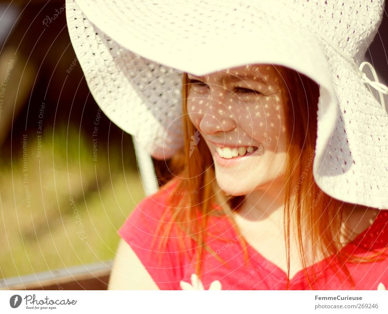 Human being Woman Nature Youth (Young adults) Beautiful Red Summer Joy Adults Face Meadow Head Laughter Garden Style Park