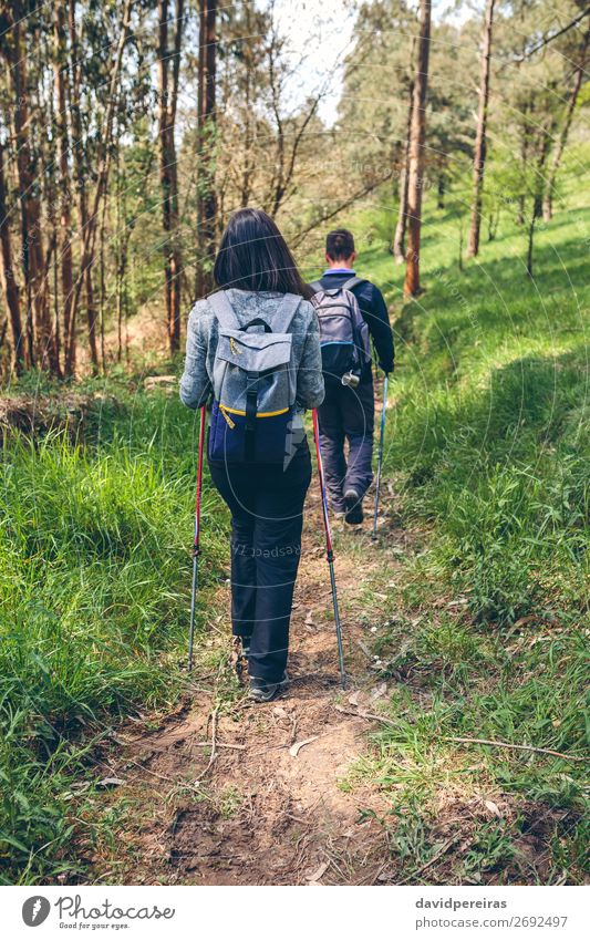 Couple of hikers doing trekking Lifestyle Vacation & Travel Trip Adventure Mountain Hiking Sports Climbing Mountaineering Human being Woman Adults Man Nature