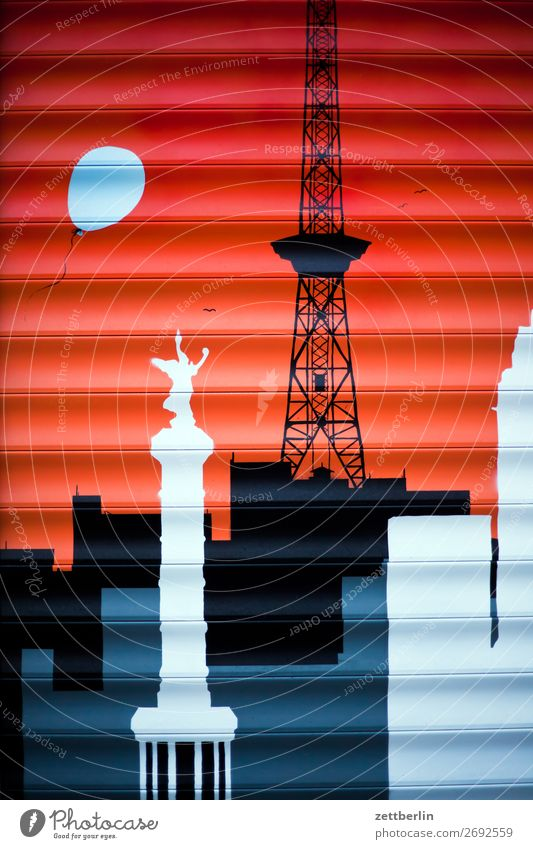Radio Tower and Victory Column Mural painting Painting and drawing (object) Landmark Transmitting station Victory column Illustration Roller blind