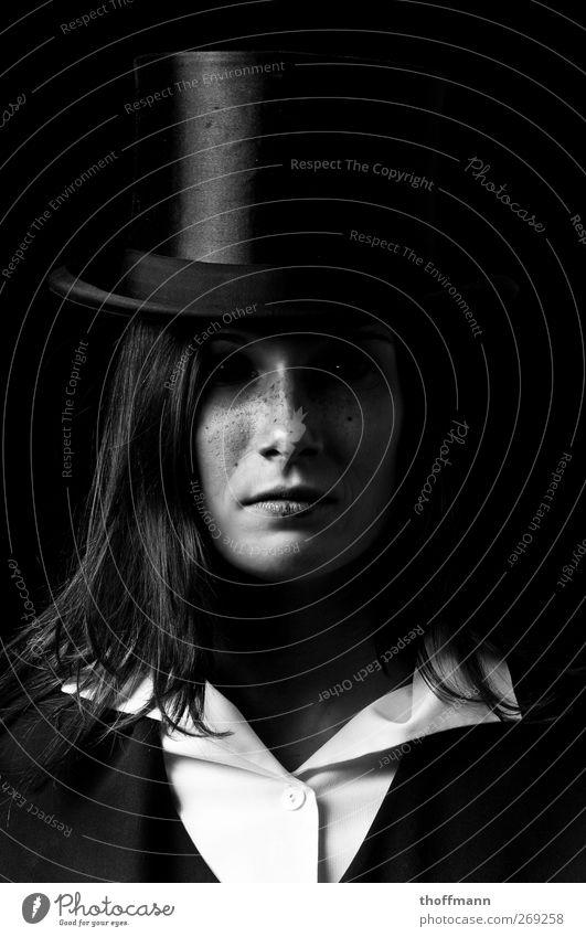 black Eyes Blouse Evil that Dark Earnest Woman Dangerous Bright Shirt Creepy Hat Contrast Headwear Collar Long-haired Might Magic Magician Portrait photograph