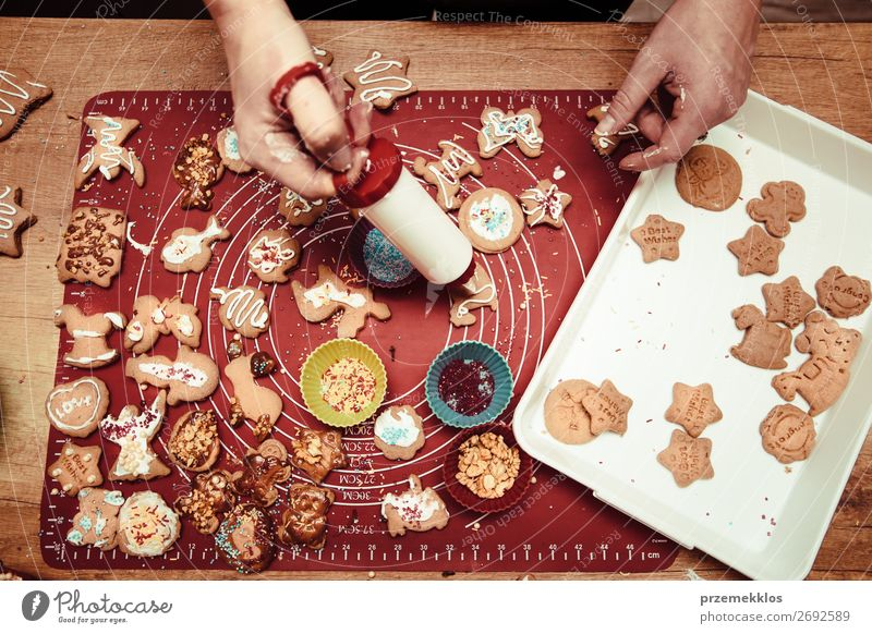 Baking Christmas cookies at home Woman Human being Christmas & Advent Hand Food Lifestyle Adults Feasts & Celebrations Above Table Authentic Kitchen Baked goods