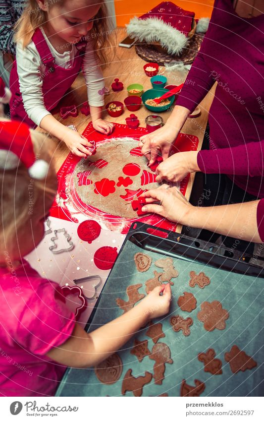 Baking Christmas cookies at home Food Dough Baked goods Cake Dessert Candy Lifestyle Table Kitchen Feasts & Celebrations Christmas & Advent Human being Child