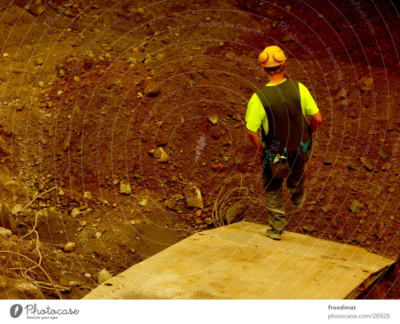 Jump Earth Dirty Break Safety Construction site Working man Services Chain Construction worker Helmet Finland Advancement Excavator Protection