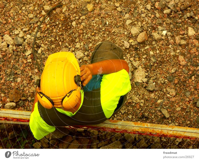 Helsinki construction team #5 Construction worker Safety Finland Helmet Construction site Warning colour Excavator Cellphone Telephone Headphones Ear protectors