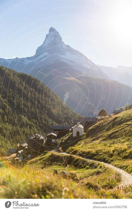 #779 Switzerland Matterhorn Landmark Mountain Village Hiking Mountain bike trail Lanes & trails Sunset soft light Peak Snowcapped peak Meadow Peaceful Glacier