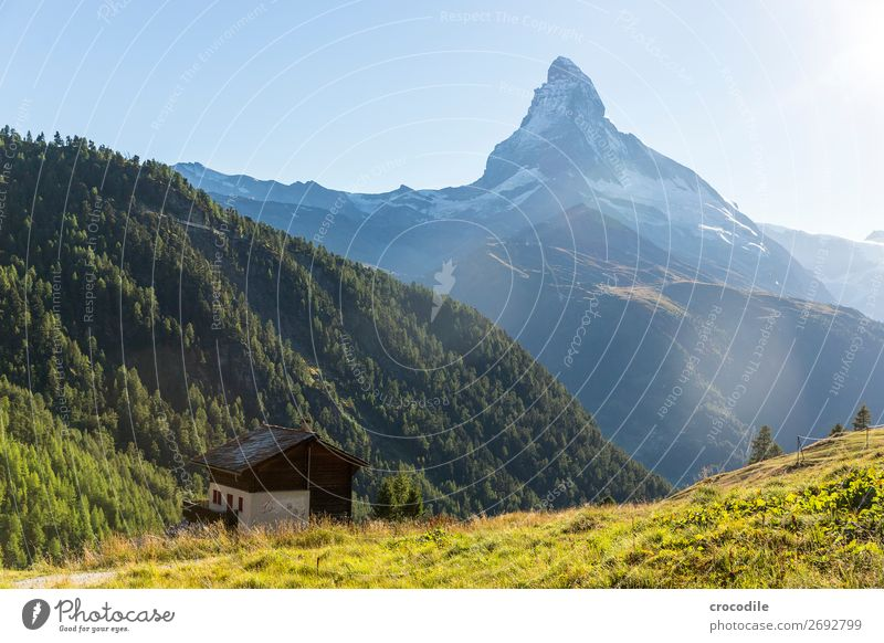 # 778 Switzerland Matterhorn Landmark Mountain Village Hiking Mountain bike trail Lanes & trails Sunset soft light Peak Snowcapped peak Meadow Peaceful Glacier