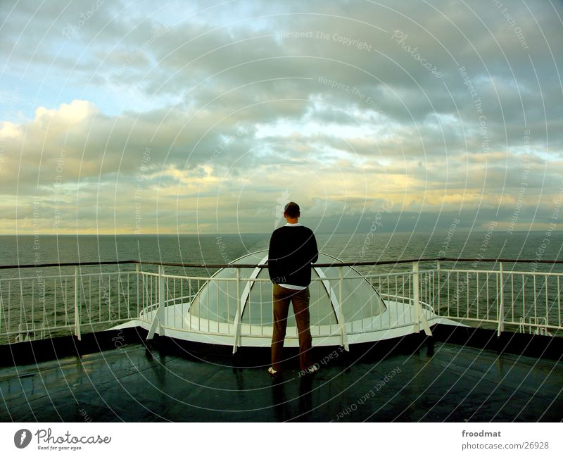 sea view Watercraft Ocean Vacation & Travel Finland Ferry Clouds Domed roof Symmetry Europe Sweden Evening Sky Human being Back
