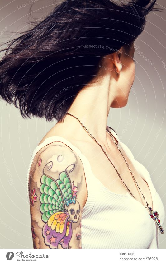 wind Woman Human being Tattoo Tattoo artist Wind Hair and hairstyles Rock music Youth (Young adults) Young woman 13 - 18 years Hairdresser Barber shop Workshop