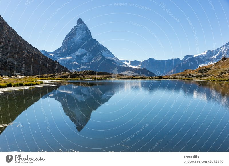 #774 Switzerland Matterhorn Landmark Mountain Village Hiking Mountain bike trail Lanes & trails Colour photo soft light Peak Meadow Peaceful Snow Glacier Idyll
