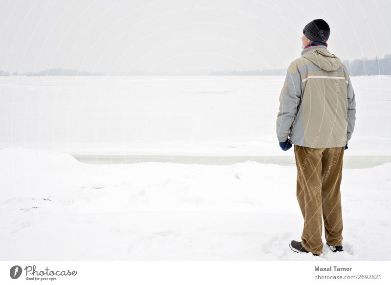 Man Close to the Frozen River in Winter Snow Human being Adults Nature Landscape Tree Pants Jacket Coat Old Observe Natural Gray Emotions Dnieper Kiev Ukraine