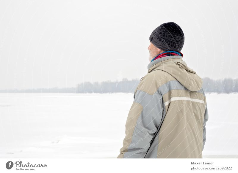Man Close to the Frozen River in Winter Snow Human being Adults Nature Landscape Tree Jacket Coat Old Observe Natural Gray Emotions Dnieper Kiev Ukraine back