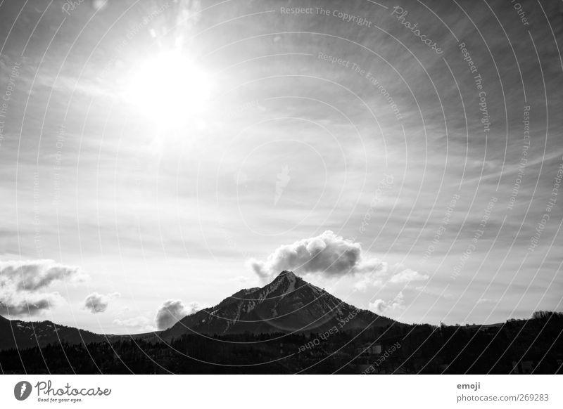 BW Environment Nature Landscape Sky Sun Climate Weather Beautiful weather Hill Mountain Peak Bright Black & white photo Exterior shot Deserted Copy Space top