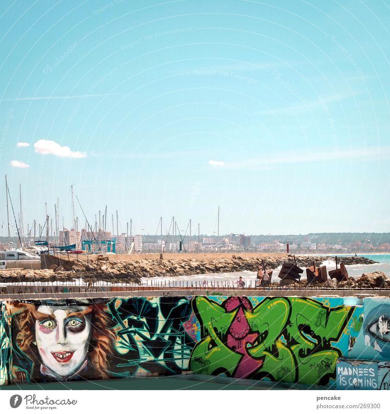 Vacation & Travel Sun Ocean Joy Graffiti Playing Art Exceptional Island Concrete Tourism Decoration Broken Communicate Harbour Kitsch