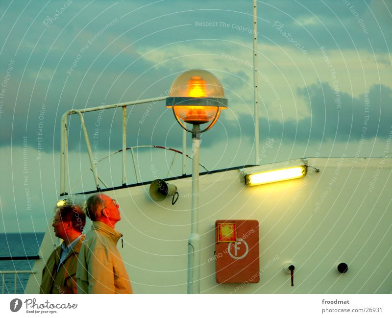 panoramic view Man Sunset Lamp Extinguisher Watercraft Ferry Finland Evening Dusk Sweden Perspective