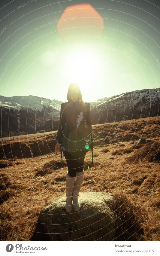 Human being Woman Nature Vacation & Travel Youth (Young adults) Young woman Sun Landscape Mountain Adults Autumn Snow Feminine Stand Trip Beautiful weather