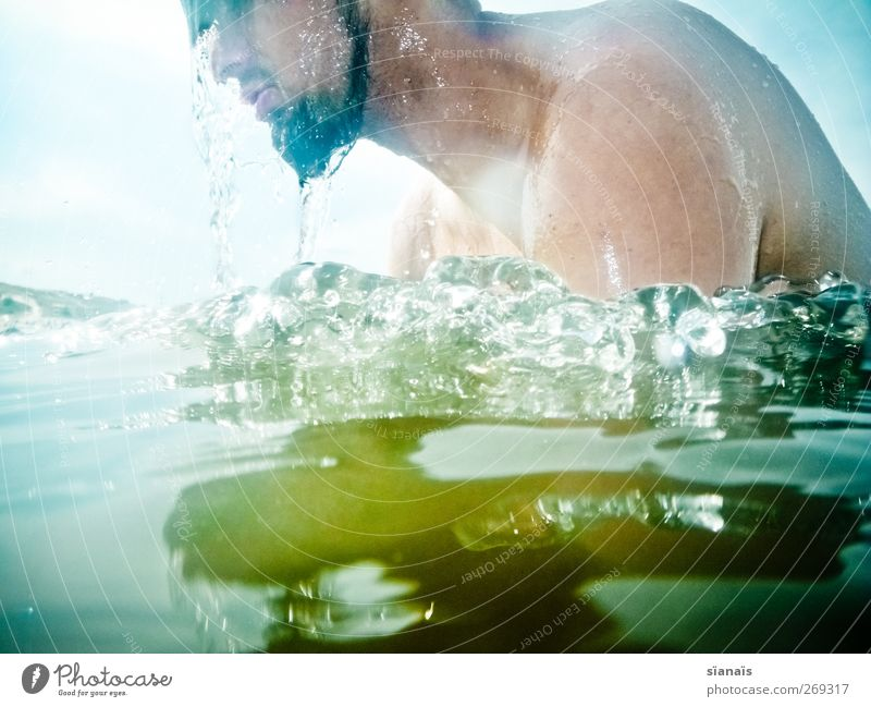 Human being Man Water Vacation & Travel Summer Adults Face Cold Life Lake Swimming & Bathing Leisure and hobbies Masculine Drops of water Cleaning