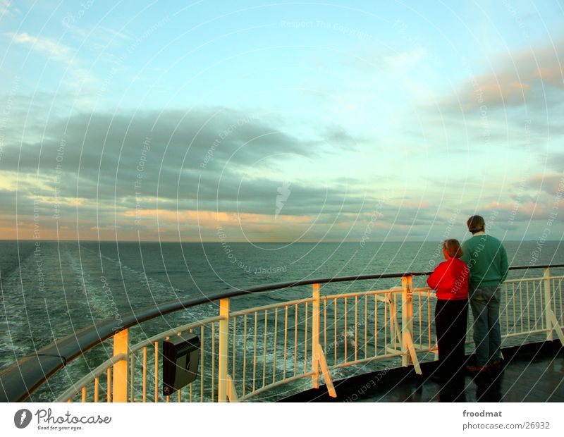 viewing direction Sunset Twilight Matrimony Together Ocean Clouds Finland Europe Evening Couple Water navigable water Sky Sweden In pairs