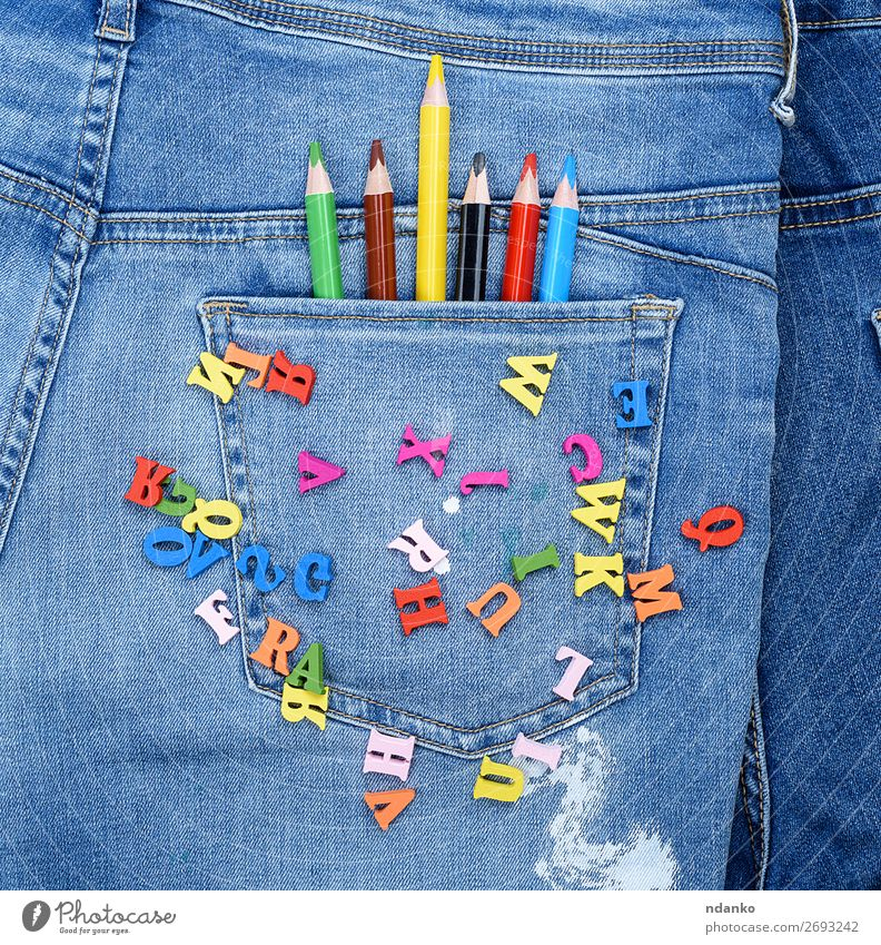 multicolored wooden letters of the English alphabet Design Education School Jeans Cloth Pen Wood Write Study Bright Blue Multicoloured Yellow Green Red Colour