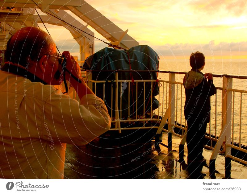Human being Sky Ocean Watercraft Romance Japan Dusk Take a photo Asians Gun sight Vacation photo